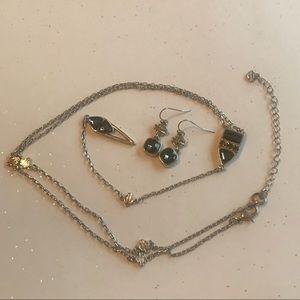 Harley-Davidson Dark Crystal Earring/Necklace Set